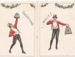 CHRISTMAS WAITS across both flaps under holly, 2 men each lift weighty treasure