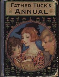 FATHER TUCK'S ANNUAL three children read a book, circular art deco design