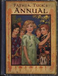 FATHER TUCK'S ANNUAL girl in green dress stands in front of boy in Scottish kilt and girl holding tennis racket