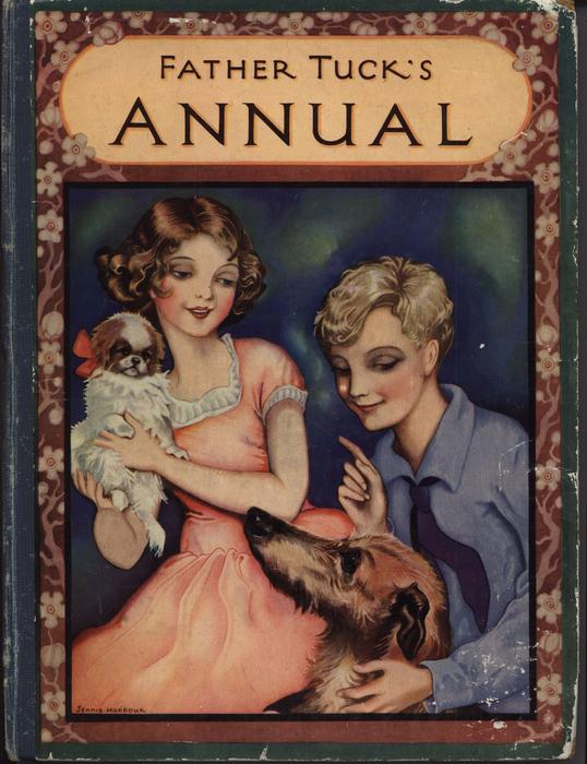 FATHER TUCK'S ANNUAL girl dressed in pink dress protects small dog from large dog of boy dressed in blue shirt