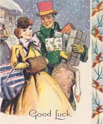 GOOD LUCK couple in old style dress with parcels, snow falls, panel of birds right