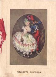 SOUHAITS SINCERES woman in white dress & green hat, man in blue & red uniform with tall red hat