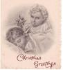 CHRISTMAS GREETINGS opt. in red below child blowing small trumpet in sleeping child's ear
