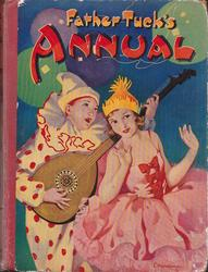 FATHER TUCK'S ANNUAL girl in pink dress is serenaded by boy in clown suit playing a banjo