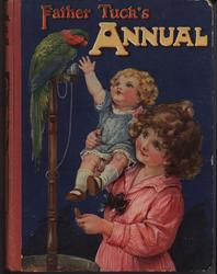 FATHER TUCK'S ANNUAL girl holds younger girl up towards green parrot on a stand