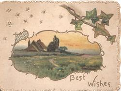 BEST WISHES rural gilt bordered inset cottages behind meadow, ivy above right