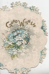 GOOD WISHES in gilt over forget-me-nots & blue centre, white cobweb background, marginal forget-me-not border