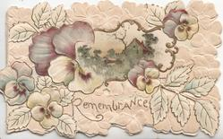 REMEMBRANCE in gilt below rural inset & purplle/white pansies on embossed stylised leafy background