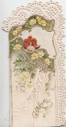 GREETINGS in gilt below yellow roses on small front flap which opens to show girl in red standing holding cane & fan