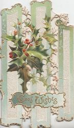 GOOD WISHES in gilt on blue plaque below berried holly over 3 green & white separated vertical slats