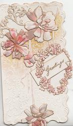 GREETINGS in white box with garland above perforation below three pale pink lilies