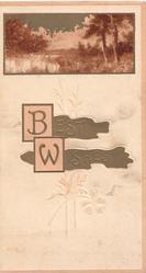 BEST WISHES(B & W in pink boxes) in gilt, watery rural inset deer crossing water 3 pink margins