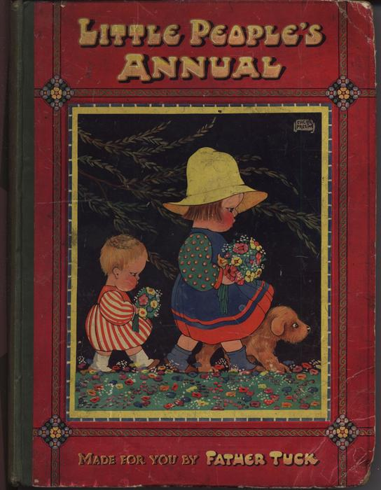 two children walk holding boquets of flowers with dog, art deco style