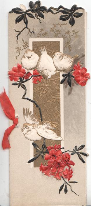 no front title, stylised red flowers & black leaves in front of gilt panel, 3 perched white birds-of happiness one flies