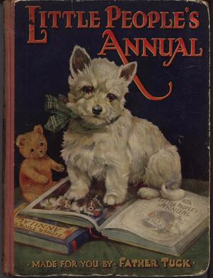 white terrier dog sits on open Tuck annual