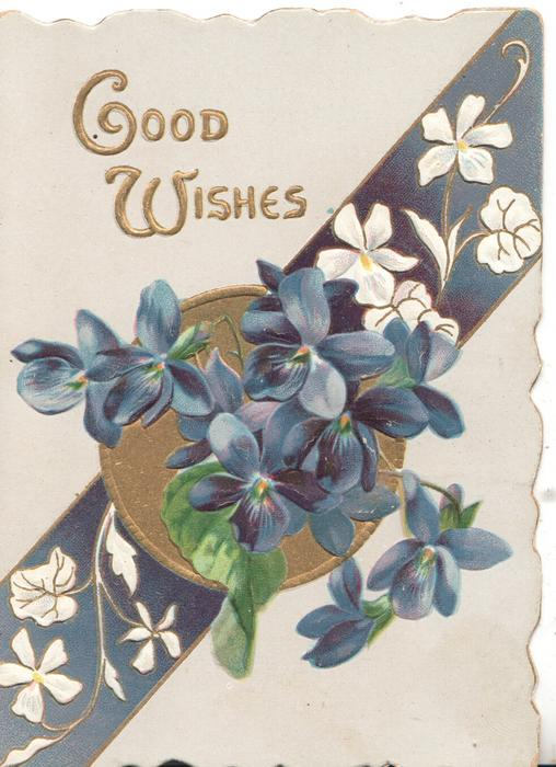GOOD WISHES in gilt, above white stylised & purple violets on gilt circle & purple diagonal stripe