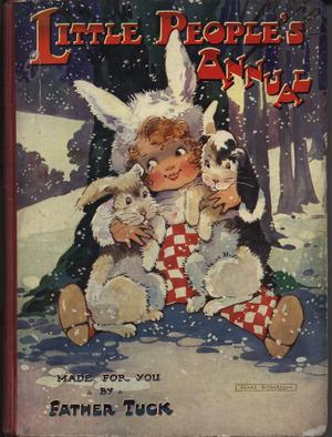 girl dressed as bunny rabbit sits in snow holding a rabbit in either arm, cover art by AGNES RICHARDSON