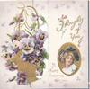 THOUGHTS OF YOU in gilt above oval inset head & shoulders of girl above A HAPPY CHRISTMAS TO YOU