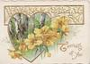 THOUGHTS OF YOU(T illuminated)in gilt lower right, yellow primroses across gilt heart shaped rural inset below peforated floral design