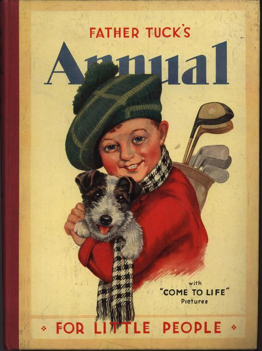 boy in hat and scarf carries small dog and has golf clubs, yellow background