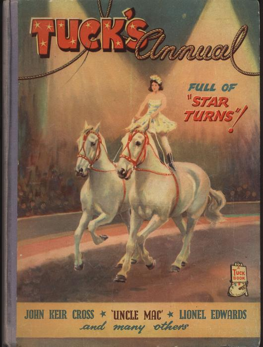 "TUCK'S ANNUAL FULL OF ""STAR TURNS""! circus rider stands on top of two running horses within a circus tent"
