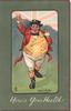 HERE'S YOUR HEALTH! in white, fat caricature of Englishman walking front raising his glass in front of Union Jack
