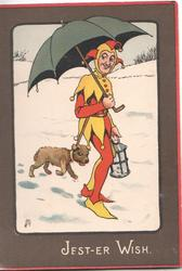 JEST-ER-WISH  jester with umbrella, dog follows in the snow