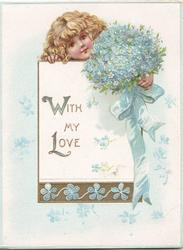WITH MY LOVE(W&L illuminated)  on white plaque below girls head & bunch of blue forget-me-nots & blue ribbon