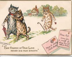 """""""THE COURSE OF TRUE LOVE NEVER DID RUN SMOOTH"""" cat sees her boy walking left cuddling anoher"""