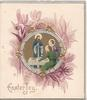 EASTER JOY, ornate silver & coloured inset, Jesus stands centrally ,violets around