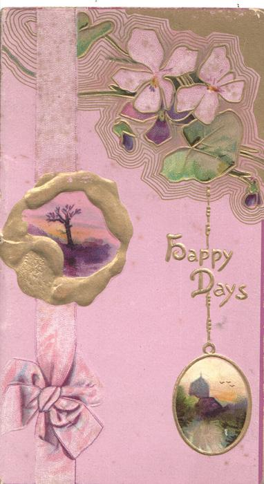 HAPPY DAYS in gilt, stylised purple flowers top right, 2 rural insets, purple printed ribbon & background