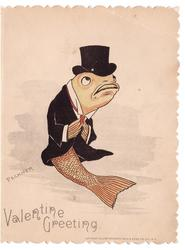 VALENTINE GREETING personized fish in evening dress & top hat bows right