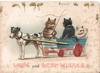 LOVE AND BEST WISHES dog pulling cart with 3 cats in it, on holds whip, gilt mice above