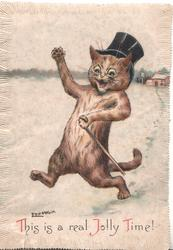 THIS IS A REAL JOLLY TIME! cat walks on hind legs in snow,  carrying stick, wearing top hat