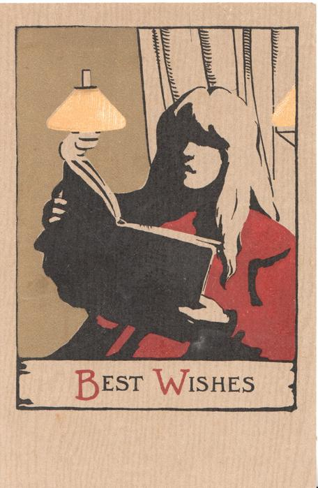 BEST  WISHES(B & W illuminated)  woman in red sits reading under lights