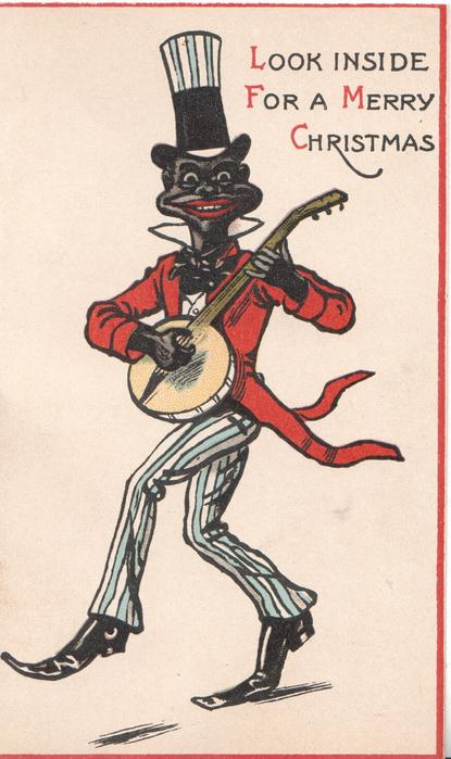 LOOK INSIDE FOR A MERRY CHRISTMAS black banjo player walks left facing front
