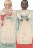 I DO LOVE YOU in gilt below black baby in white dress with blue sash & white baby in white dress, with bottle, on back above WITH LOVE