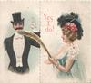 YES I DO! in red, woman uses long feather to tickle the face of man in formal dress
