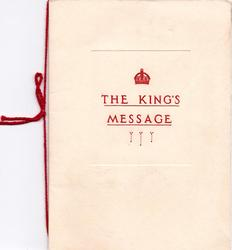 THE KING'S MESSAGE opt. in red