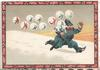 A MERRY XMAS, policeman  pursued across snow by lettered snowballs, image framed with pink holly design