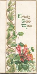 EVERY GOOD WISH( E, G & W in green) above right, orange/red honeysuckle, perforated design left