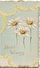 BEST WISHES in gilt below 3 yellow daisies, pale grey background, yellow floral marginal design