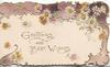 GREETINGS AND BEST WISHES in gilt below purple design with white daisies, light brown background