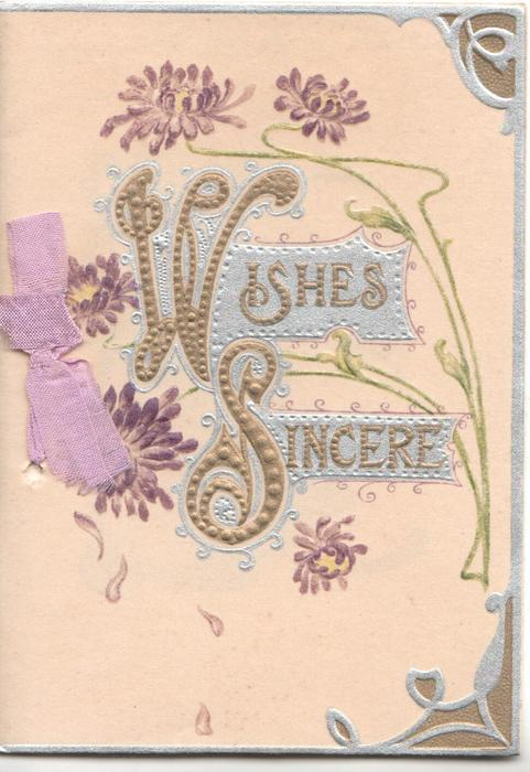 WISHES SINCERE in gilt on silver plaques, 5 purple daisies around