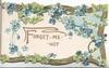 FORGET- ME-NOT in gilt on white plaque, forget-me-nots & ivy leaves around, gilt marginal design