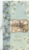 GOOD WISHES in gilt bedlow gilt bordered rural inset, blue forget-me-nots left & white above & right, pale blue background