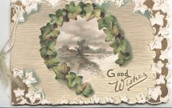 GOOD WISHES below horseshoe of ivy round rural inset, pale green background, white ivy leaf marginal design