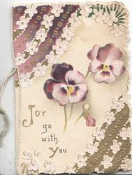JOY GO WITH YOU in gilt lower left, purple/white pansies, complex floral & gilt design on 2 corners