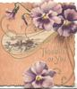 THOUGHTS OF YOU in gilt, purple/white pansies above & below speckled brown background, rural inset
