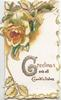 GREETINGS(G glittered & illuminated) AND ALL GOOD WISHES in gilt below orange/white rose, floral marginal design